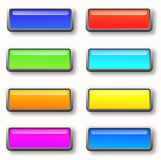Colorful set of rectangle horizontal shiny banner buttons Stock Images