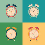 Colorful set of retro alarm clocks. Royalty Free Stock Image