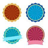 Colorful set, round label with ribbons. Vector illustration stock illustration