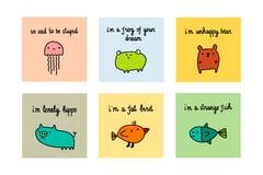 Colorful set sad and depressive animals hand drawn illustration. Cartoon minimalism stock illustration