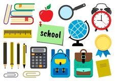Set of school supplies. Vector illustration stock illustration