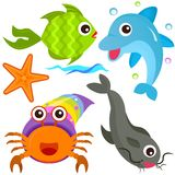 A colorful set of sealife Royalty Free Stock Photo