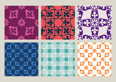 Colorful set of seamless floral patterns vintage backgrounds. Collection stock illustration