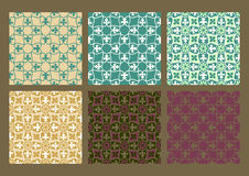 Colorful set of seamless floral patterns vintage backgrounds. Collection royalty free illustration