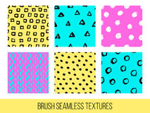 Colorful set of seamless vector free hand doodle textures, dry b. Rush ink art Stock Photos