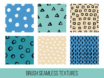 Colorful set of seamless vector free hand doodle textures, dry b. Rush ink art Stock Images