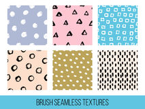 Colorful set of seamless vector free hand doodle textures, dry b. Rush ink art Royalty Free Stock Photography