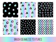 Colorful set of seamless vector free hand doodle textures, dry b. Rush ink art on holographic background Stock Images