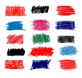 Colorful Set of simple bold hatching doodle lines, curves, frames. Pencil sketch isolated on white. Vector marker line blots set. Hand drawn black grunge Stock Photo