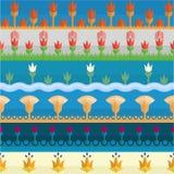 Six egyptian flower style borders vector illustration