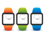 Colorful set of smart watches. Colorful set of orange, green and blue smart watches,  on white background, eps10 Stock Image