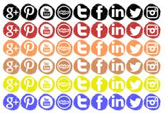 Colorful Set of social networks icons isolated Royalty Free Stock Photos
