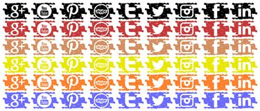 Colorful Set of social networks icons isolated Royalty Free Stock Photo