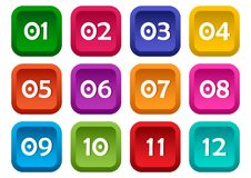Colorful set of square buttons with numbers from 01 to 12. Vector royalty free illustration