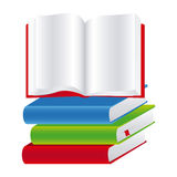 Colorful set stack school books with open book. Illustration Royalty Free Stock Photos