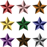 Colorful set of stars. Isolated on white royalty free illustration