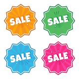 Colorful set of stickers with inscription SALE in pop art style. Vector illustration stock illustration