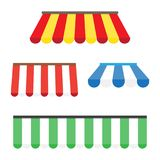 Colorful set of striped awnings. For shop and restaurants. Vector illustration Royalty Free Stock Photography