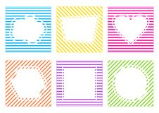 Colorful set of striped frame with different shapes. Vector illustration vector illustration