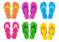 Set of summer flip flops. Vector illustration stock illustration