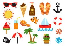 Colorful set of summer icons. Vector stock illustration