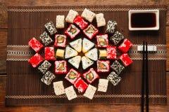 Colorful set of sushi, food art. Japanese cuisine. Royalty Free Stock Photography