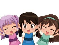 Colorful set three half body cute anime tennagers girls facial expression Stock Images