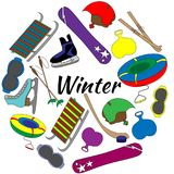 Colorful Set of tools of winter sports and games equipment. Colorful Set of tools of winter sports and games Stock Photos