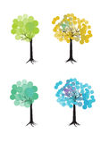 Colorful set of trees Royalty Free Stock Photography