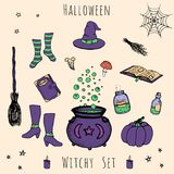 Colorful set of vector halloween elements. Includes potions, vials, herbs, books, mushrooms, cauldron Royalty Free Stock Image