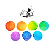 Colorful set vector isolated watercolor paint Royalty Free Stock Image