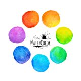 Colorful set vector isolated watercolor paint Stock Photography