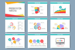 Colorful set of vector templates for multipurpose presentation slides. Modern business flat design with graphs and chart. Leaflet marketing advertising royalty free illustration