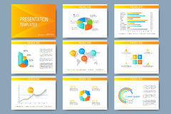 Colorful set of vector templates for multipurpose presentation slides. Modern business flat design with graphs and chart Stock Photos
