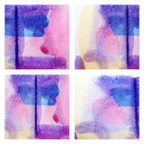Colorful set   watercolor paint texture Stock Images