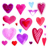 Colorful set of watercolor valentines day hearts. Cute elements for greeting card. Isolated on white background. Stock Photo