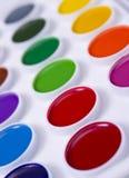 Colorful set of watercolour paints stock image