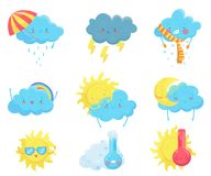 Colorful weather forecast icons. Funny cartoon sun and clouds. Adorable faces with various emotions. Flat vector for stock illustration