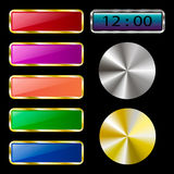 Colorful set of web buttons on a black background. Vector illustration Stock Image