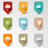 Colorful set web retro pointers for weather Stock Photography