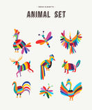 Colorful set of wild animal icon illustrations Royalty Free Stock Images