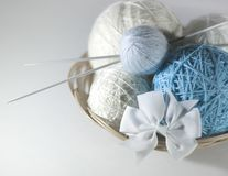 Colorful set of yarn ball blue and white in a basket stock photos