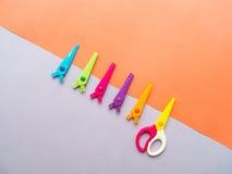 Colorful set of zigzag changable art scissors Royalty Free Stock Images