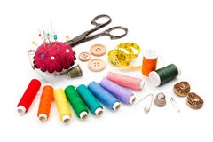 Colorful sewing accessories Stock Images