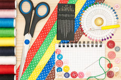 Colorful sewing accessories Royalty Free Stock Image