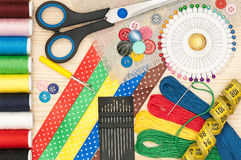 Colorful sewing accessories Stock Photo
