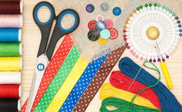 Colorful sewing accessories Royalty Free Stock Photo