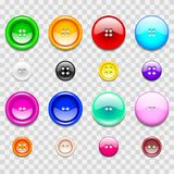 Colorful Sewing Buttons Icons Photo Realistic Vector Set Stock Photo