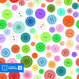 Colorful Sewing Buttons Seamless Pattern. Vector Stock Image