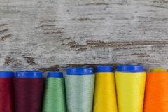 Colorful sewing coils background Royalty Free Stock Image